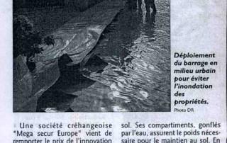 Article dans le républicain Lorrain sur le barrage anti inondation water gate de megasecur europe