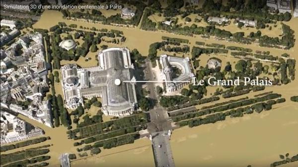 simulazione delle inondazioni a Parigi