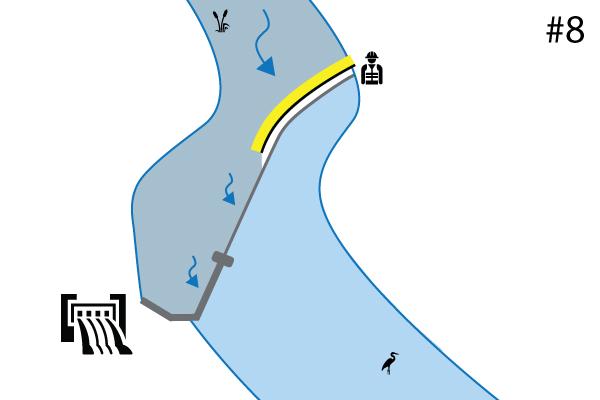 Cassette flessibili Water-Gate©. Schema di un impianto sulla soglia di un fiume | Sfioratore. Caso n. 7