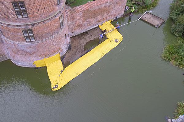 Cofferdam a forma di U - Castello di Frederiksbord - Fine del pompaggio