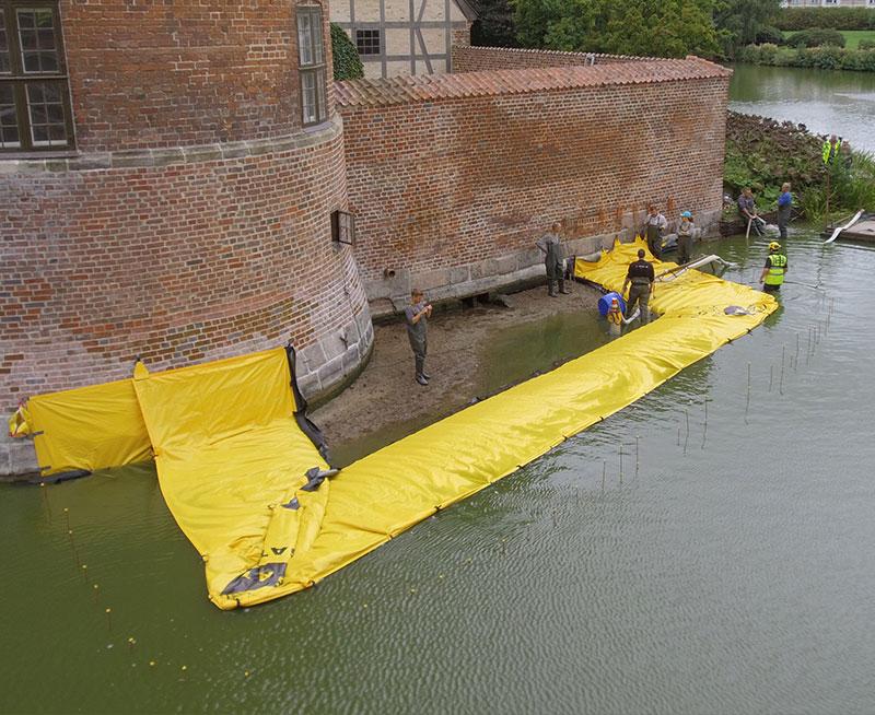 Cofferdam a forma di U - Castello di Frederiksbord - Drenaggio del cantiere - Fossato - Primo canale